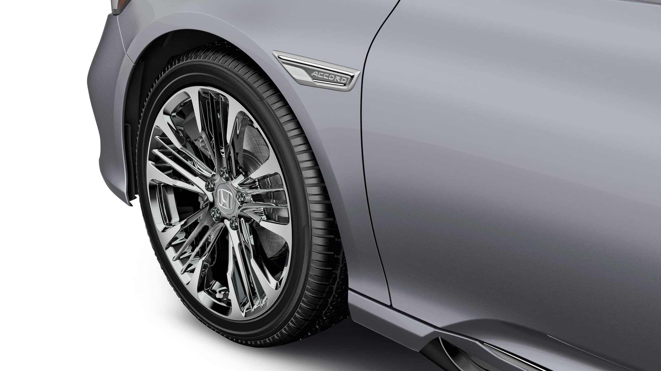 Front fender garnish detail in silver on the 2020 Honda Accord in Lunar Silver Metallic.