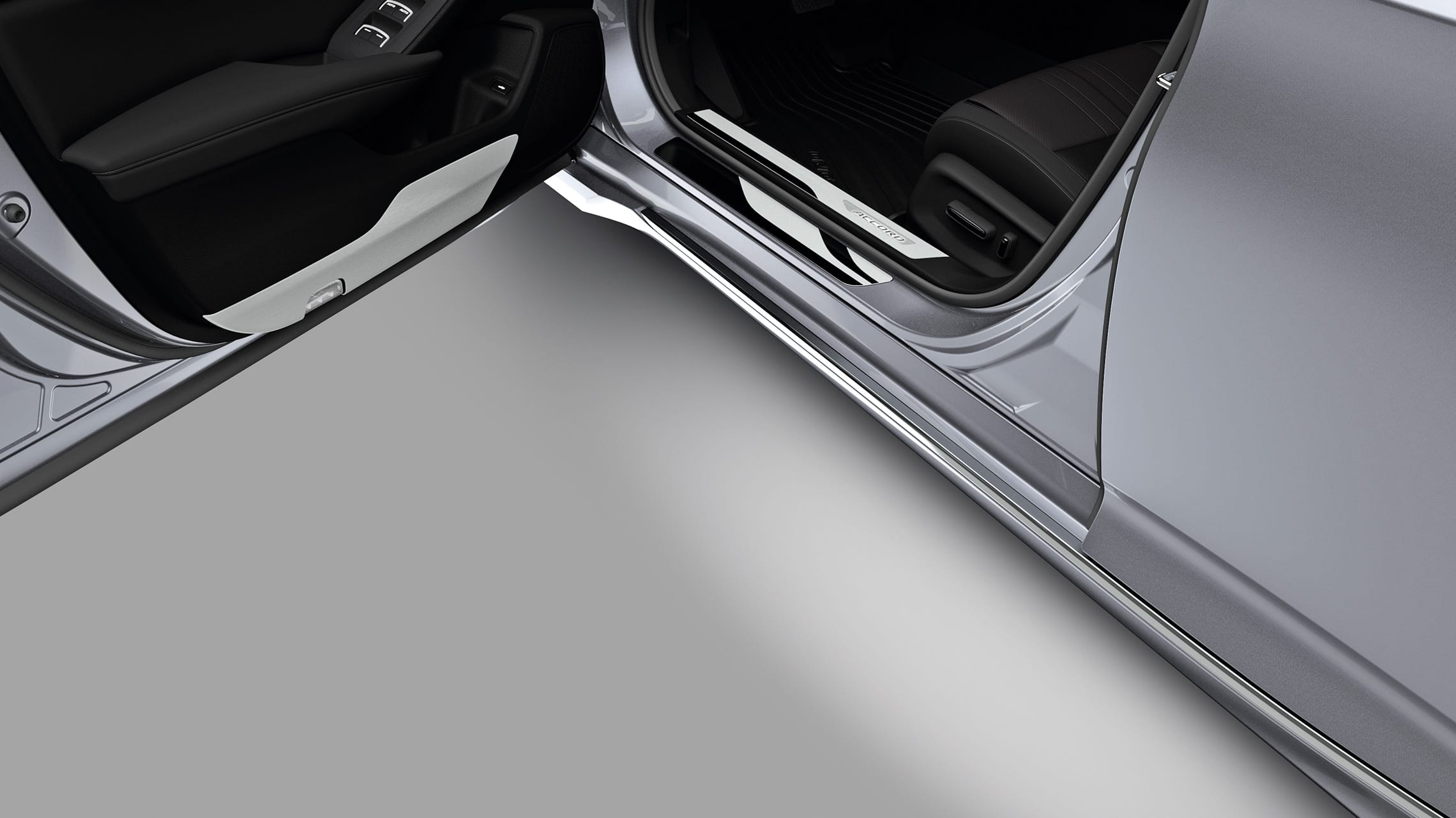 Puddle light detail with driver-side door open on the 2020 Honda Accord.