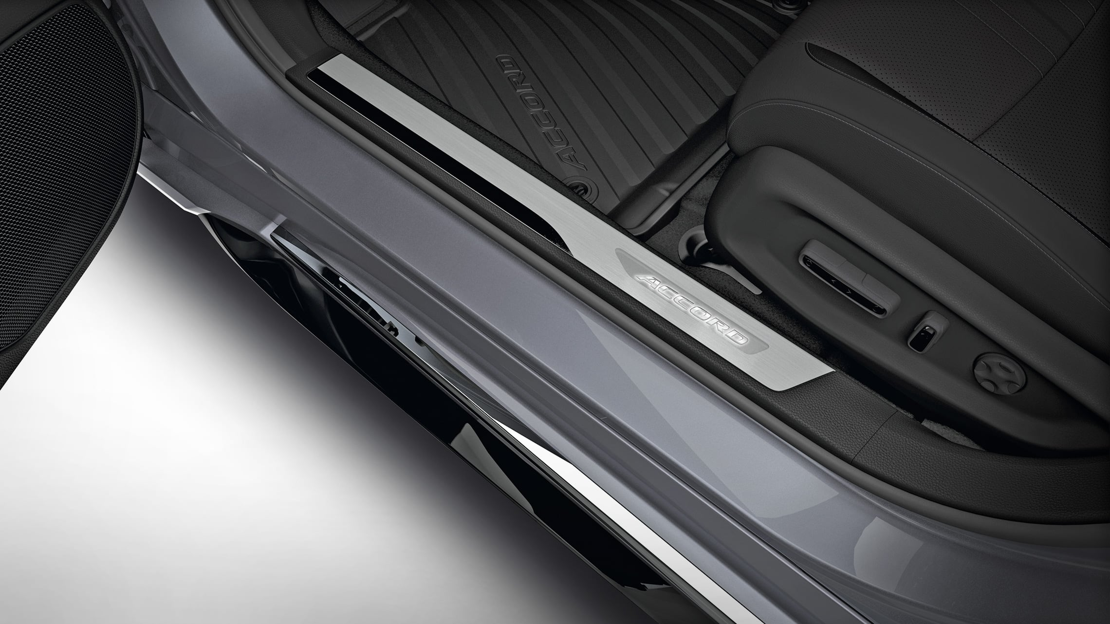 Illuminated door sill trim accessory detail in the 2020 Honda Accord.