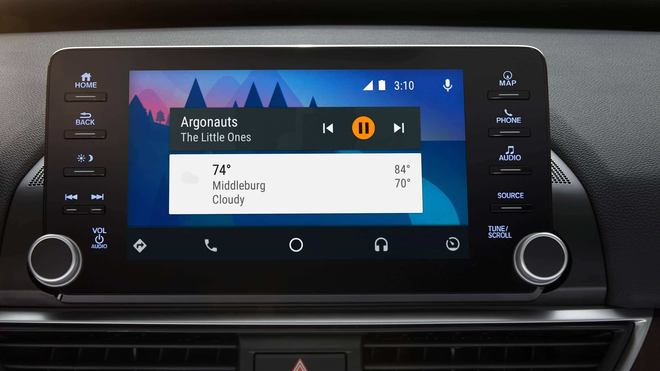 Android Auto™ integration detail on Display Audio touch-screen in the 2020 Honda Accord Touring 2.0T.