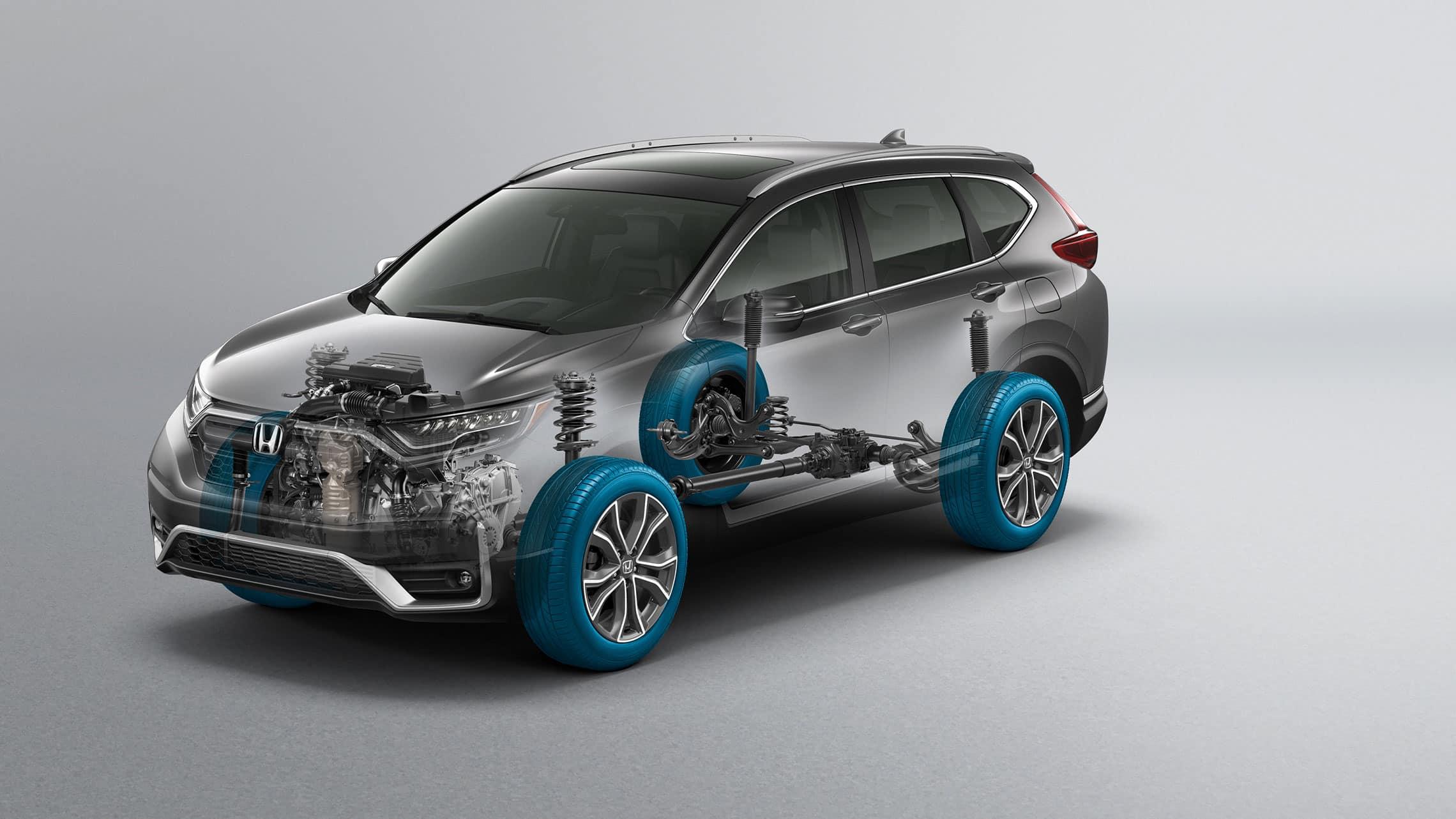 Vista frontal de ¾ desde el lado del conductor de la Honda CR-V2020 con gráfico en superposición de Real Time all-wheel-drive™.