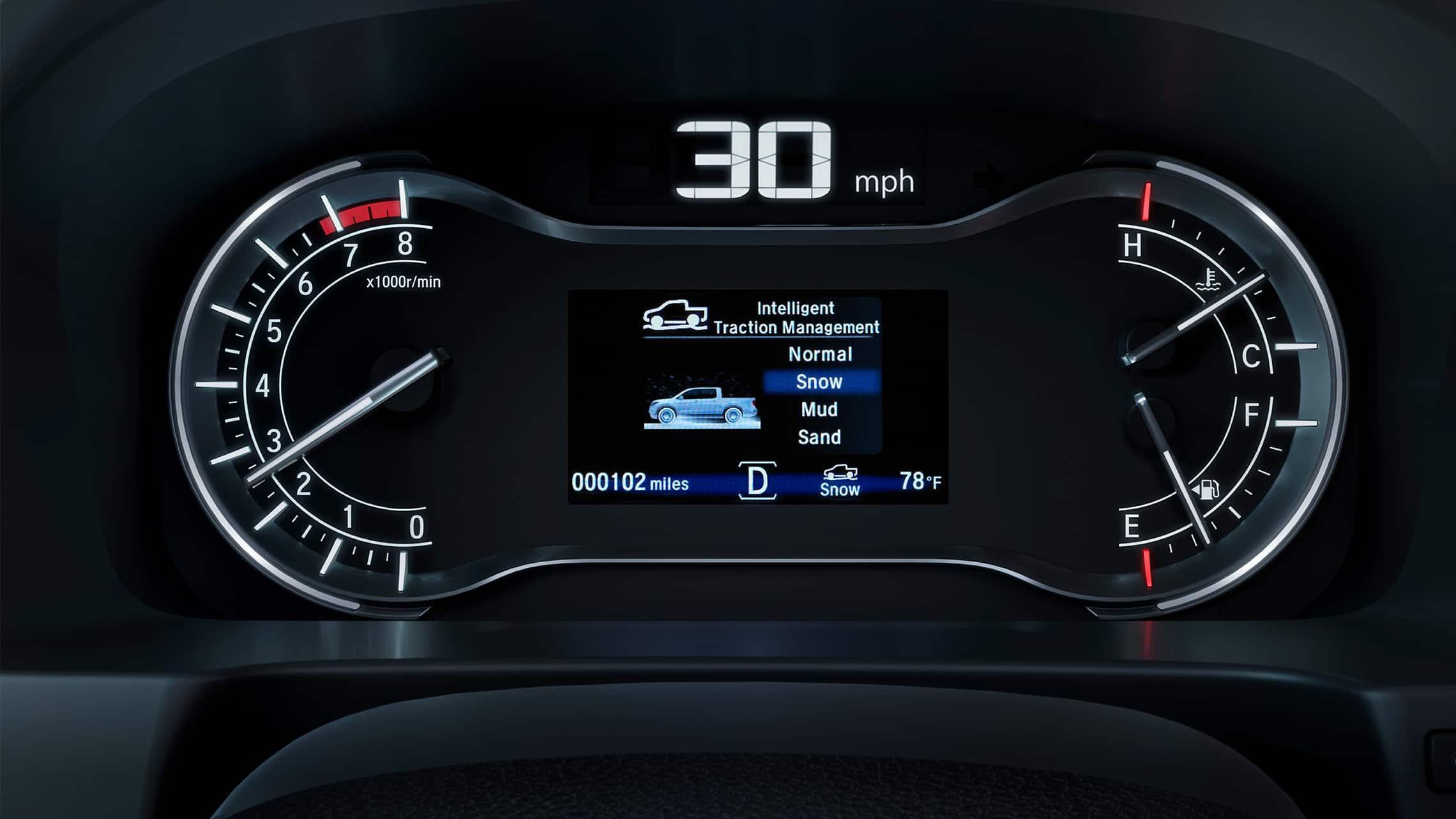 Detalle de la pantalla del sistema de control de tracción inteligente en la Honda Ridgeline RTL-E2020.