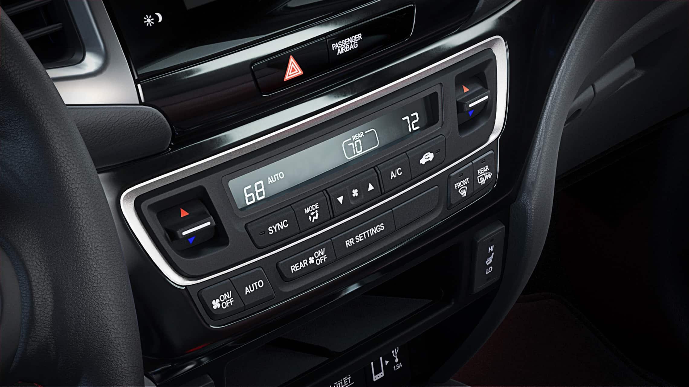 Detalle del control de clima de tres zonas en la Honda Ridgeline 2020.