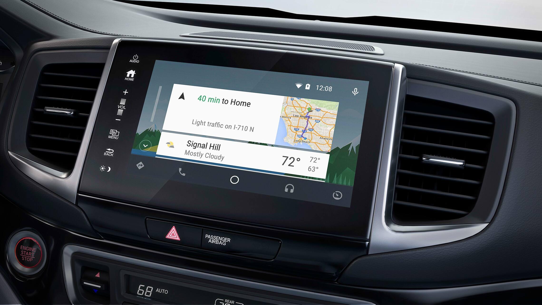 Integración con Android Auto en el sistema de audio en pantalla táctil de la Honda Ridgeline2020.
