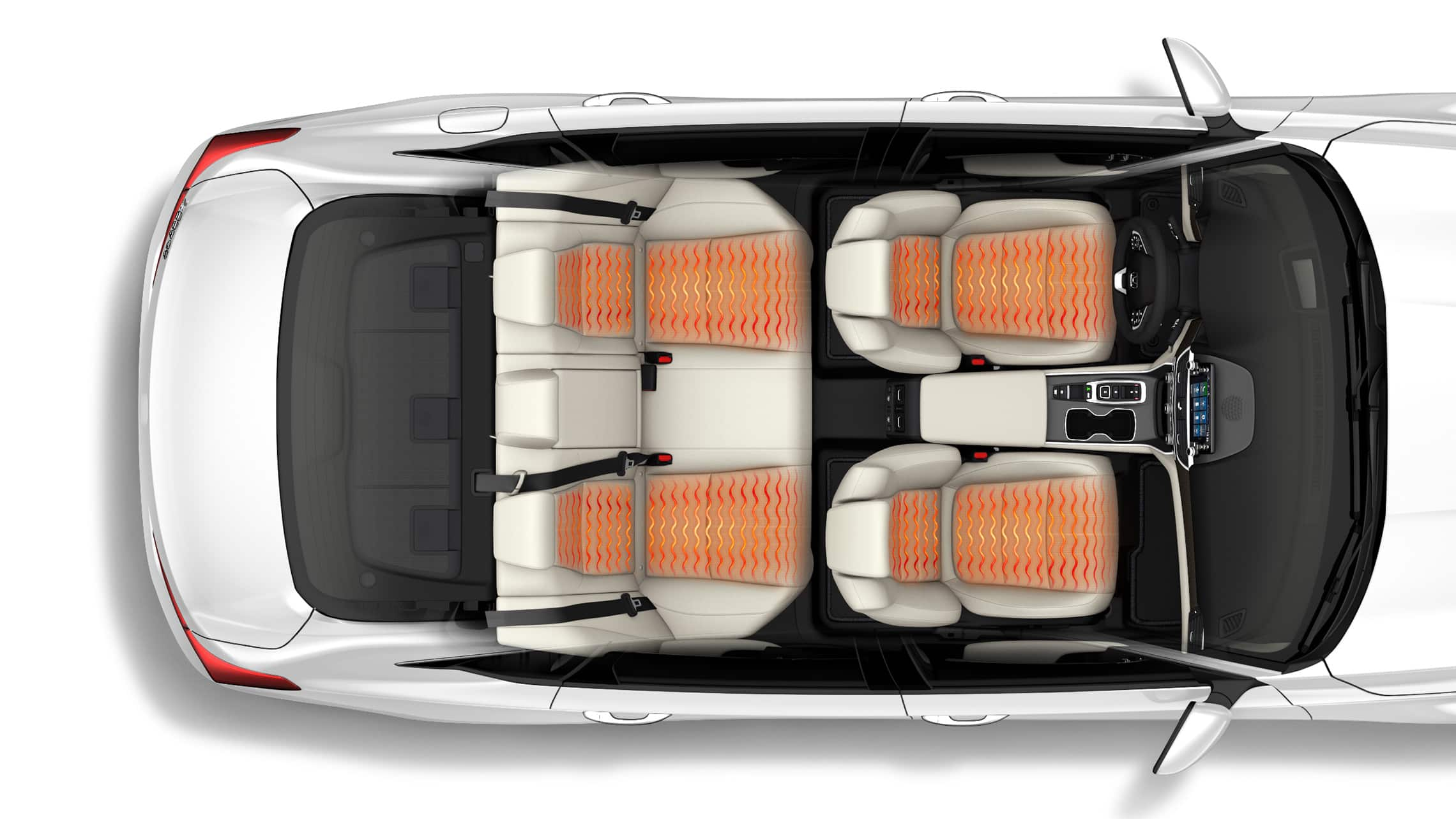 Overhead interior view of the 2021 Honda Accord Touring 2.0T with illustrated temperature waves showing heated front seats and outboard rear seats.