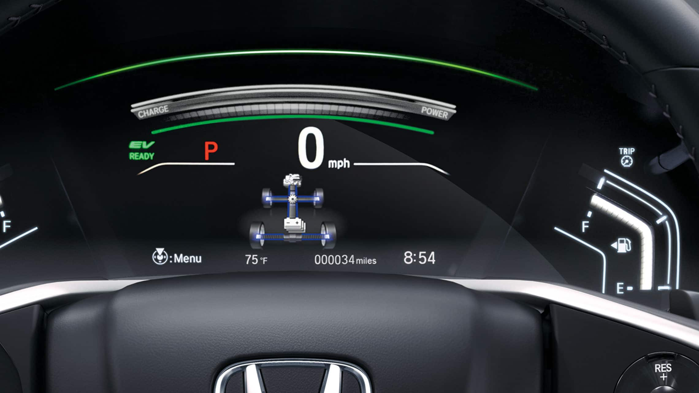 Detail view of the Driver Information Interface screen with power flow monitor in the 2021 CR-V Hybrid Touring with Black Leather.