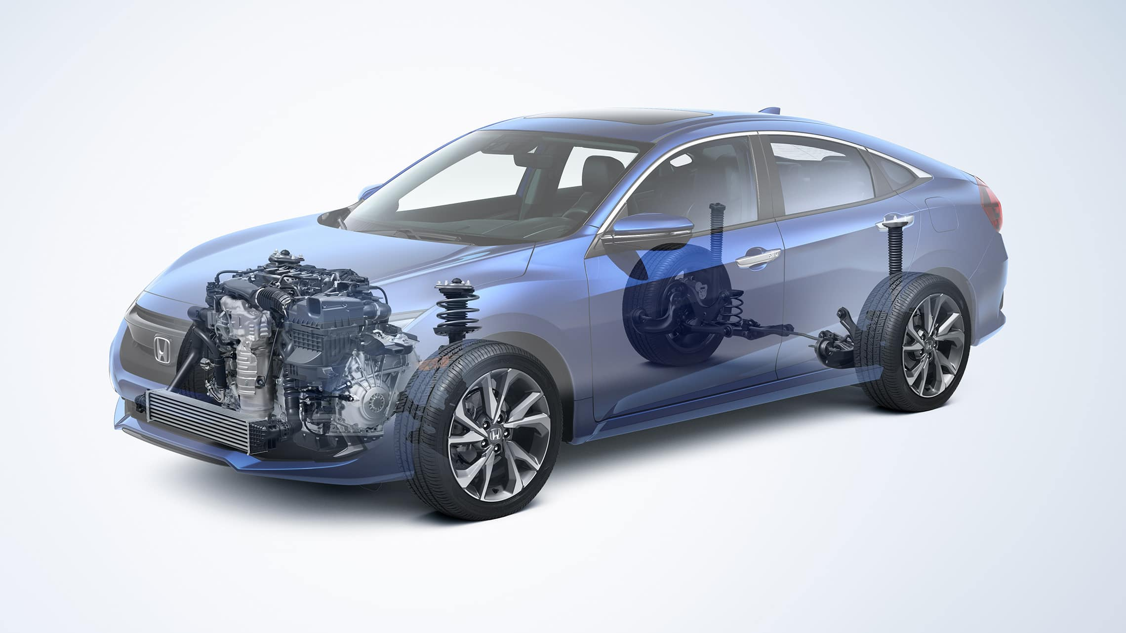Front driver-side view of the 2021 Honda Civic Touring Sedan with drivetrain revealed.