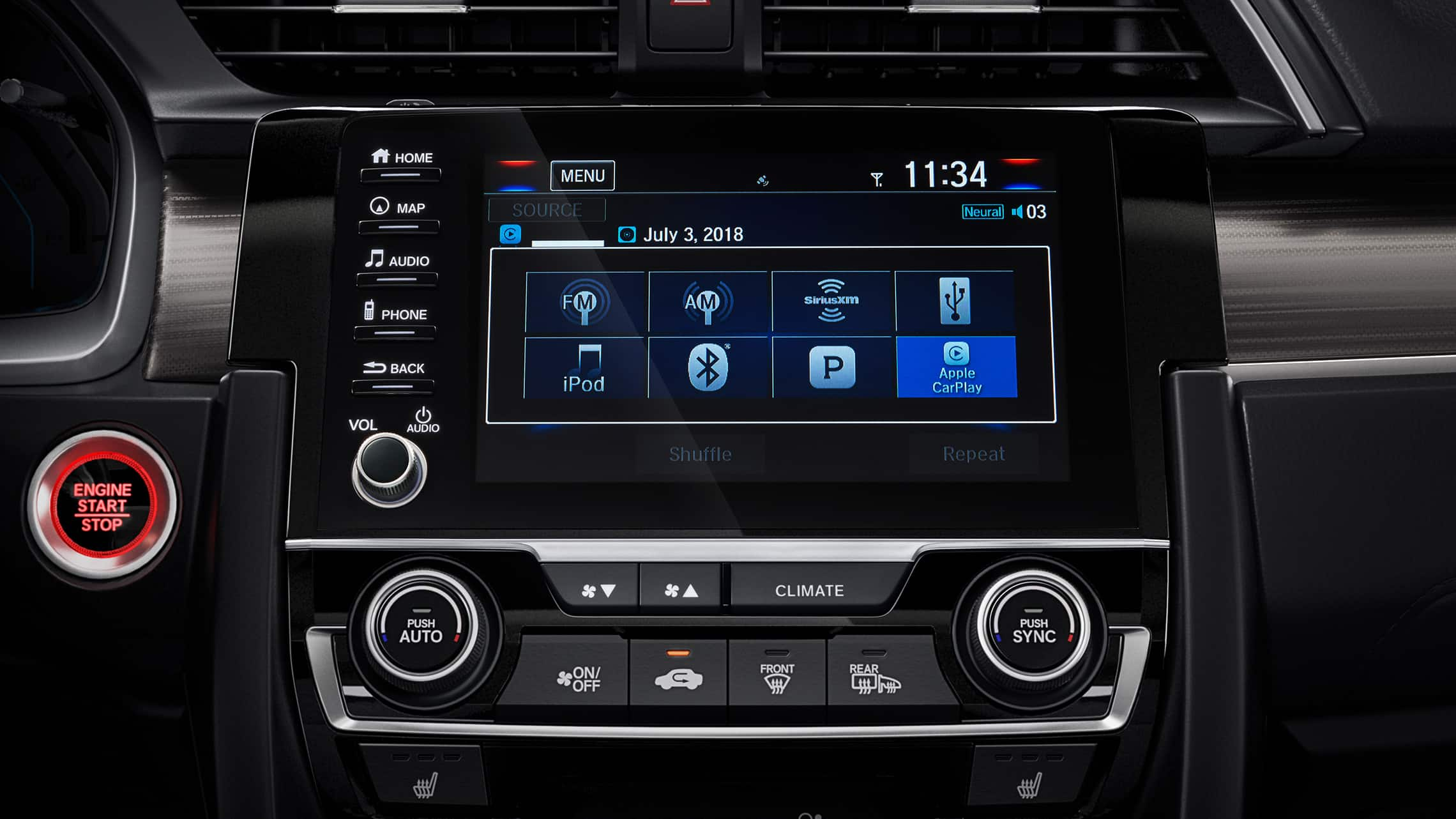 Display Audio touch-screen detail in the 2021 Honda Civic Touring Sedan.