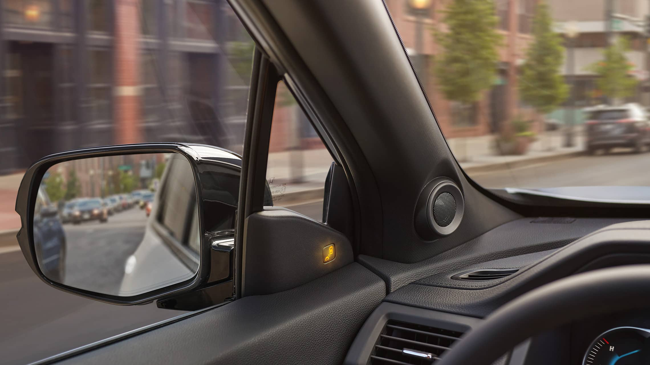 2021 Honda Passport Elite in Lunar Silver Metallic demonstrating the blind spot information system.
