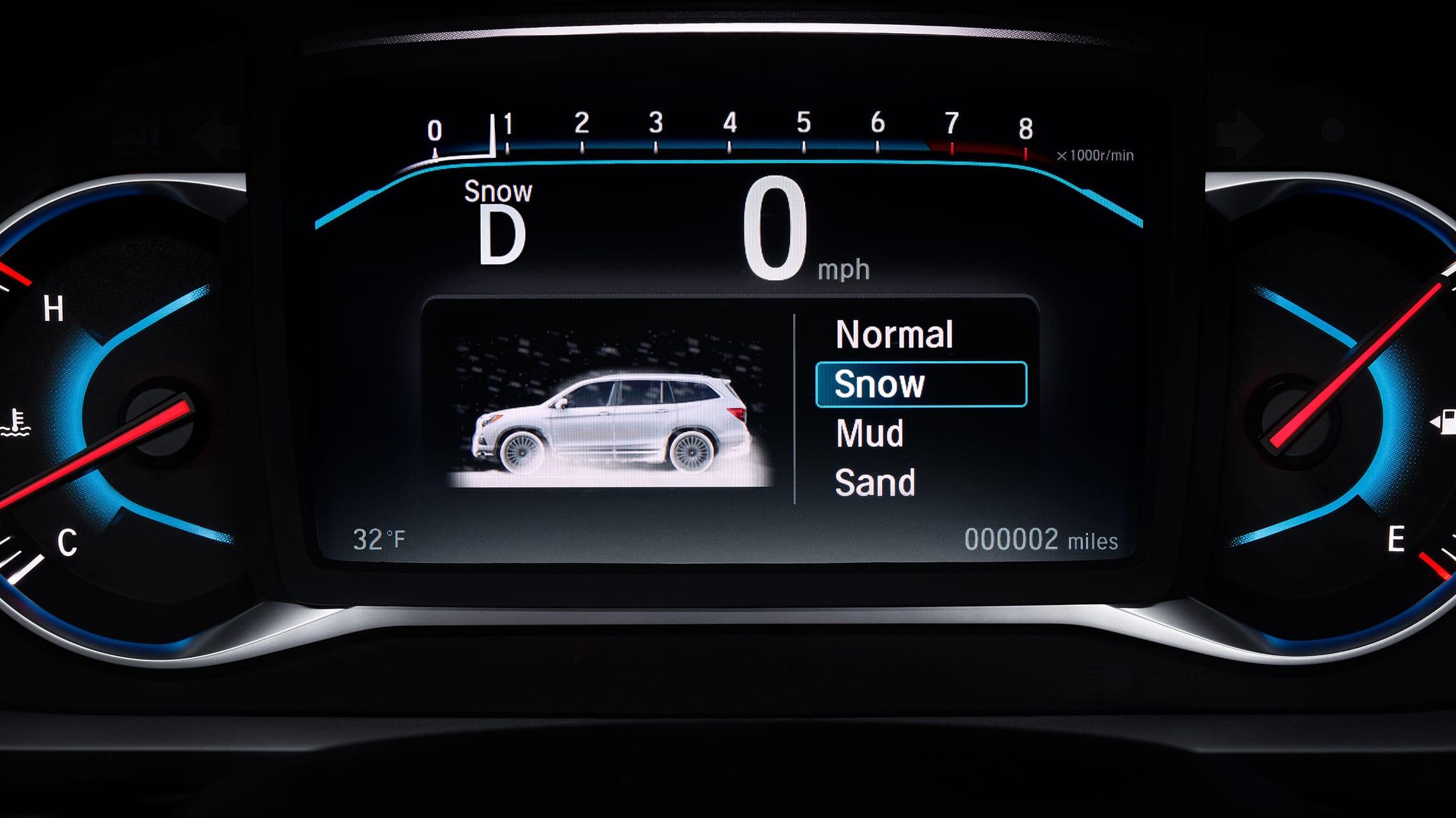 Detalle del control de tracción inteligente en la Honda Pilot2021.